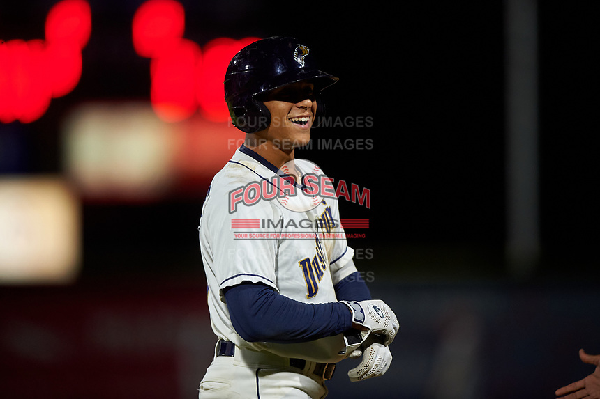 Tri-City Dust Devils Sean Guilbe (1) during a Northwest League game against the Vancouver Canadians at Gesa Stadium on August 21, 2019 in Pasco, Washington. Vancouver defeated Tri-City 1-0. (Zachary Lucy/Four Seam Images)