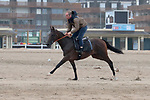 August 16, 2021, Deauville (France) - Racehorse training at the beach in Deauville. [Copyright (c) Sandra Scherning/Eclipse Sportswire)]