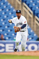 Lake County Captains third baseman Ordomar Valdez (11) throws to first during a game against the Fort Wayne TinCaps on May 20, 2015 at Classic Park in Eastlake, Ohio.  Lake County defeated Fort Wayne 4-3.  (Mike Janes/Four Seam Images)