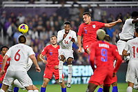 ORLANDO, FL - NOVEMBER 15: Aaron Long #3 of the United States scores a header goal during a game between Canada and USMNT at Exploria Stadium on November 15, 2019 in Orlando, Florida.