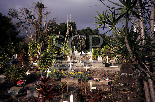 Big Island, Hawaii. Graveyard with flowers and shrubs amongst white crucifixes at St. Benedict's Painted Church.