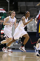 10 March 2008: Stanford Cardinal Candice Wiggins (right) and Jeanette Pohlen (23) during Stanford's 56-35 win against the California Golden Bears in the 2008 State Farm Pac-10 Women's Basketball championship game at HP Pavilion in San Jose, CA.
