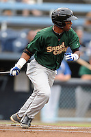 Savannah Sand Gnats second baseman Jorge Rivero #7 swings at a pitch during a game against the Asheville Tourists at McCormick Field on July 30, 2013 in Asheville, North Carolina. The Sand Gnats won the game 9-5. (Tony Farlow/Four Seam Images)