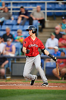 Erie SeaWolves third baseman A.J. Simcox (18) follows through on a swing during a game against the Binghamton Rumble Ponies on May 14, 2018 at NYSEG Stadium in Binghamton, New York.  Binghamton defeated Erie 6-5.  (Mike Janes/Four Seam Images)