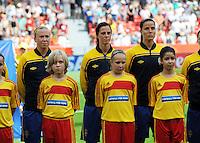 Fifa Women's World Cup Germany 2011 : Colombia - Sweden at Bayarena Leverkusen : Sara Larsson , Lotta Schelin en Jessica Landstrom tijdens hun volkslied / hymne..foto DAVID CATRY / Vrouwenteam.be