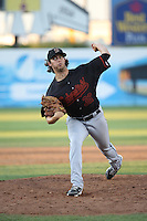 Tyler Pike (32) of the Bakersfield Blaze pitches against the Lancaster JetHawks at The Hanger on June 18, 2016 in Lancaster, California. Bakersfield defeated Lancaster, 10-7. (Larry Goren/Four Seam Images)