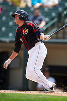 Rochester Red Wings shortstop Doug Bernier (17) at bat during a game against the Norfolk Tides on May 3, 2015 at Frontier Field in Rochester, New York.  Rochester defeated Norfolk 7-3.  (Mike Janes/Four Seam Images)