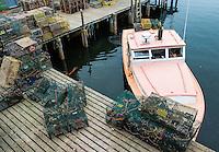 Lobster boat at dock, Bernard, Maine, USA