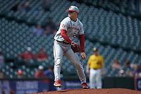 Oklahoma Sooners relief pitcher Levi Prater (25) in action against the Missouri Tigers in game four of the 2020 Shriners Hospitals for Children College Classic at Minute Maid Park on February 29, 2020 in Houston, Texas. The Tigers defeated the Sooners 8-7. (Brian Westerholt/Four Seam Images)