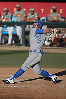 Mikey Perez (10) of the UCLA Bruins bats against the USC Trojans at Dedeaux Field on March 28, 2021 in Los Angeles, California. UCLA defeated USC, 13-1. (Larry Goren/Four Seam Images)