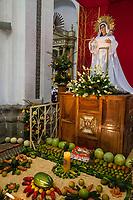 Antigua, Guatemala.  Statue of the Virgin Mary in La Merced Church.