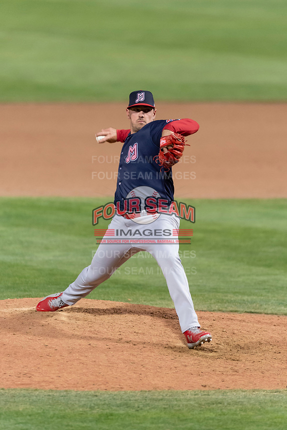 Memphis Redbirds relief pitcher Chris Beck (47) during a Pacific Coast League game against the Omaha Storm Chasers on April 26, 2019 at Werner Park in Omaha, Nebraska. Memphis defeated Omaha 7-3. (Zachary Lucy/Four Seam Images)