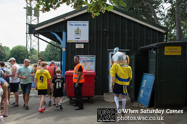 St Albans 0 Watford 5, 26/07/2014. Clarence Park, Pre Season Friendly. Pre Season friendly between St Albans City and Watford from Clarence Park Stadium. The St Albans City mascot makes his way to the bar area. Watford won the game 5-0. Photo by Simon Gill.