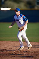 Tyler Brandenburg (20) of Lake Country Lutheran High School in Saukville, Wisconsin during the Baseball Factory All-America Pre-Season Tournament, powered by Under Armour, on January 13, 2018 at Sloan Park Complex in Mesa, Arizona.  (Mike Janes/Four Seam Images)