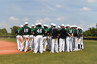 Farmingdale State Rams team meeting after a game against the U-Mass Boston Beacons at North Charlotte Regional Park on March 19, 2015 in Port Charlotte, Florida.  U-Mass Boston defeated Farmingdale 9-5.  (Mike Janes/Four Seam Images)