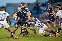 28th May 2021; AJ Bell Stadium, Salford, Lancashire, England; English Premiership Rugby, Sale Sharks versus Bristol Bears; Dan du Preez of Sale Sharks is tackled by Nathan Hughes of Bristol Bears