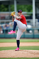 New Hampshire Fisher Cats starting pitcher Sean Reid-Foley (9) delivers a pitch during the first game of a doubleheader against the Harrisburg Senators on May 13, 2018 at FNB Field in Harrisburg, Pennsylvania.  New Hampshire defeated Harrisburg 6-1.  (Mike Janes/Four Seam Images)