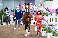 BEL-Lorissa Pauluis presents Flambeau during the 1st Horse Inspection for the Dressage at the Equestrian Park. Tokyo 2020 Olympic Games. Friday 23 July 2021. Copyright Photo: Libby Law Photography