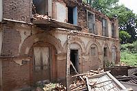 A heavily damaged building in Kathmandu, Nepal