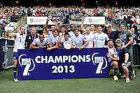 New York City 7s celebrate winning the Plate competition of the World Club 7s at Twickenham on Sunday 18th August 2013 (Photo by Rob Munro)