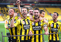 Phoenix players celebrate Tim Brown's goal during the A-League elimination final football match between Wellington Phoenix v Sydney FC at Westpac Stadium, Wellington, New Zealand on Friday, 30 March 2012. Photo: Dave Lintott / lintottphoto.co.nz