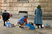 Elderly peasant women sell herbs and vegetables in a street in central Lviv.