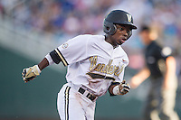 Vanderbilt Commodores designated hitter Ro Coleman (1) rounds third base against the TCU Horned Frogs in Game 12 of the NCAA College World Series on June 19, 2015 at TD Ameritrade Park in Omaha, Nebraska. The Commodores defeated TCU 7-1. (Andrew Woolley/Four Seam Images)