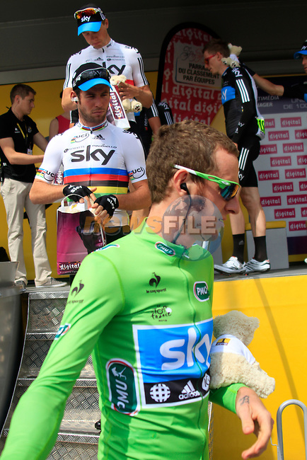 Team leader Bradley Wiggins (GBR) Sky Procycling wearing the Green Jersey and World Champion Mark Cavendish (GBR) at sign on before the start of Stage 1 of the 99th edition of the Tour de France, running 198km from Liege to Seraing starting in Parc d'Avroy Liege, Belgium. 1st July 2012.<br /> (Photo by Eoin Clarke/NEWSFILE)