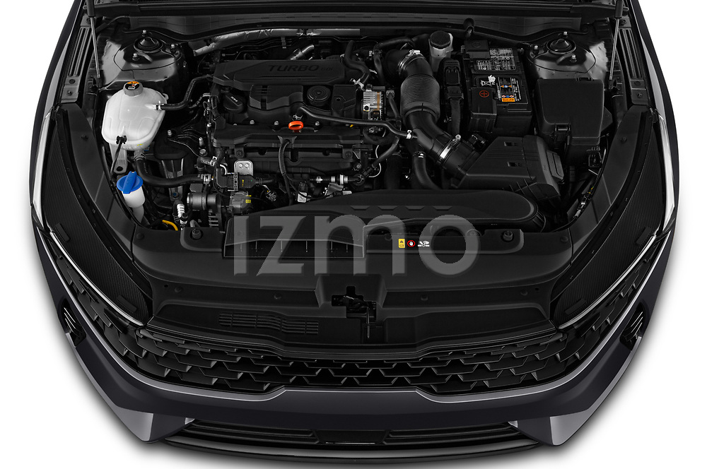 High angle engine detail of a 2021 KIA K5 EX 4 Door Sedan