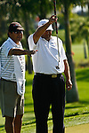 PALM BEACH GARDENS, FL. - Angel Cabrera lines up a putt during Round Three play at the 2009 Honda Classic - PGA National Resort and Spa in Palm Beach Gardens, FL. on March 7, 2009.