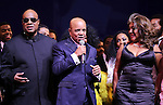 Stevie Wonder, Berry Gordy, Diana Ross, Mary Wilson, Valisia LeKae,  & Company  during the Broadway Opening Night Performance Curtain Call for 'Motown The Musical'  at the Lunt Fontanne Theatre in New York City on 4/14/2013..