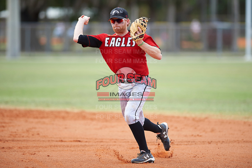 Edgewood College Eagles Brodie Engel (3) throws to first base during a game against the New York University Violets on March 14, 2017 at Terry Park in Fort Myers, Florida.  NYU defeated Edgewood 12-7.  (Mike Janes/Four Seam Images)
