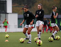 (Left to right)  Luna Vanzeir of OHL (10) and Estee Cattoor of OHL (11) pictured during the warm up before a female soccer game between Oud Heverlee Leuven and Femina White Star Woluwe  on the 5 th matchday of the 2020 - 2021 season of Belgian Womens Super League , Sunday 18 th of October 2020  in Heverlee , Belgium . PHOTO SPORTPIX.BE | SPP | SEVIL OKTEM