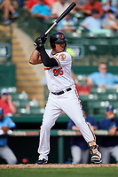 Baltimore Orioles third baseman Jomar Reyes (95) at bat during a Grapefruit League Spring Training game against the Tampa Bay Rays on March 1, 2019 at Ed Smith Stadium in Sarasota, Florida.  Rays defeated the Orioles 10-5.  (Mike Janes/Four Seam Images)
