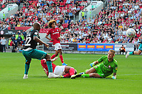 Andre Ayew of Swansea City has his shot saved by Daniel Bentley of Bristol City during the Sky Bet Championship match between Bristol City and Swansea City at Ashton Gate in Bristol, England, UK. Saturday 21 September 2019