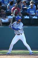 Dalton Rouleau (27) of the Hofstra Pride bats during a game against the UCLA Bruins at Jackie Robinson Stadium on March 14, 2015 in Los Angeles, California. UCLA defeated Hofstra, 18-1. (Larry Goren/Four Seam Images)