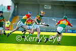 Michael  O Leary, Kerry in action against Diarmuid Byrne, Carlow during the Joe McDonagh hurling cup fourth round match between Kerry and Carlow at Austin Stack Park on Saturday.