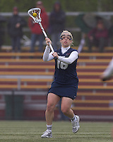 University of New Hampshire midfielder Rachael Nock (16) passes the ball. Boston College defeated University of New Hampshire, 11-6, at Newton Campus Field, May 1, 2012.