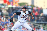 Quad Cities River Bandits pitcher Jonathan Bermudez (26) during a Midwest League game against the Kane County Cougars on August 24, 2019 at Modern Woodmen Park in Davenport, Iowa.  Quad Cities defeated defeated Kane County 8-2.  (Travis Berg/Four Seam Images)
