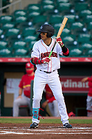 Jupiter Hammerheads Victor Mesa Jr. (10) bats during a game against the Palm Beach Cardinals on May 11, 2021 at Roger Dean Stadium in Jupiter, Florida.  (Mike Janes/Four Seam Images)
