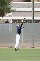 Milwaukee Brewers right fielder Larry Ernesto (24) attempts to catch a line drive during an Instructional League game against the Los Angeles Dodgers at Maryvale Baseball Park on September 24, 2018 in Phoenix, Arizona. (Zachary Lucy/Four Seam Images)