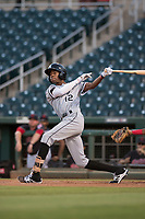 AZL White Sox center fielder Cabera Weaver (12) follows through on his swing during an Arizona League game against the AZL Indians 1 at Goodyear Ballpark on June 20, 2018 in Goodyear, Arizona. AZL Indians 1 defeated AZL White Sox 8-7. (Zachary Lucy/Four Seam Images)