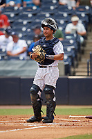 Tampa Tarpons catcher Francisco Diaz (17) during a game against the Clearwater Threshers on April 22, 2018 at George M. Steinbrenner Field in Tampa, Florida.  Tampa defeated Clearwater 2-1.  (Mike Janes/Four Seam Images)