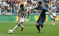 Calcio, Serie A: Juventus vs Napoli. Torino, Juventus Stadium, 23 maggio 2015. <br /> Juventus' Alvaro Morata, left, is challenged by Napoli's Miguel Angel Britos during the Italian Serie A football match between Juventus and Napoli at Turin's Juventus Stadium, 23 May 2015.<br /> UPDATE IMAGES PRESS/Isabella Bonotto