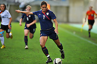 USA captain Shannon Boxx strikes the ball.  .The USA captured the 2010 Algarve Cup title by defeating Germany 3-2, at Estadio Algarve on March 3, 2010.