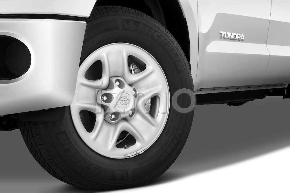 Tire and wheel close up detail view of a 2010 Toyota Tundra Double Cab 2WD