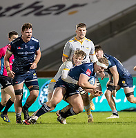 27th December 2020; AJ Bell Stadium, Salford, Lancashire, England; English Premiership Rugby, Sale Sharks versus Wasps; Ross Harrison of Sale Sharks  is tackled by   Will Porter of Wasps