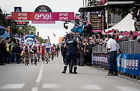 finish line surprise as (being part of the day's breakaway)  Damiano Cima (ITA/Nippo - Vini Fantini) wins the stage only JUST before being caught by Pascal Ackermann (DEU/BORA-hansgrohe) in the bunch sprint<br /> <br /> Stage 18: Valdaora/Olang to Santa Maria di Sala (222km)<br /> 102nd Giro d'Italia 2019<br /> <br /> ©kramon
