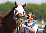 September 19, 2015. Roadhog arrives at the paddock for the $100,000. Alphabet Soup Handicap Stakes, one and 1/16 miles on the turf for registered PA breds three and upwards, at  Parx Racing in Bensalem, PA. (Joan Fairman Kanes/ESW/CSM)