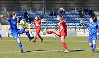 forward Hanne Merkelbach (25) of KRC Genk and Marie Bougard (10) of Woluwe pictured during a female soccer game between FC Femina White Star Woluwe and KRC Genk on the 17 th matchday of the 2020 - 2021 season of Belgian Scooore Womens Super League , Saturday 20 th of March 2021  in Woluwe , Belgium . PHOTO SPORTPIX.BE | SPP | JILL DELSAUX